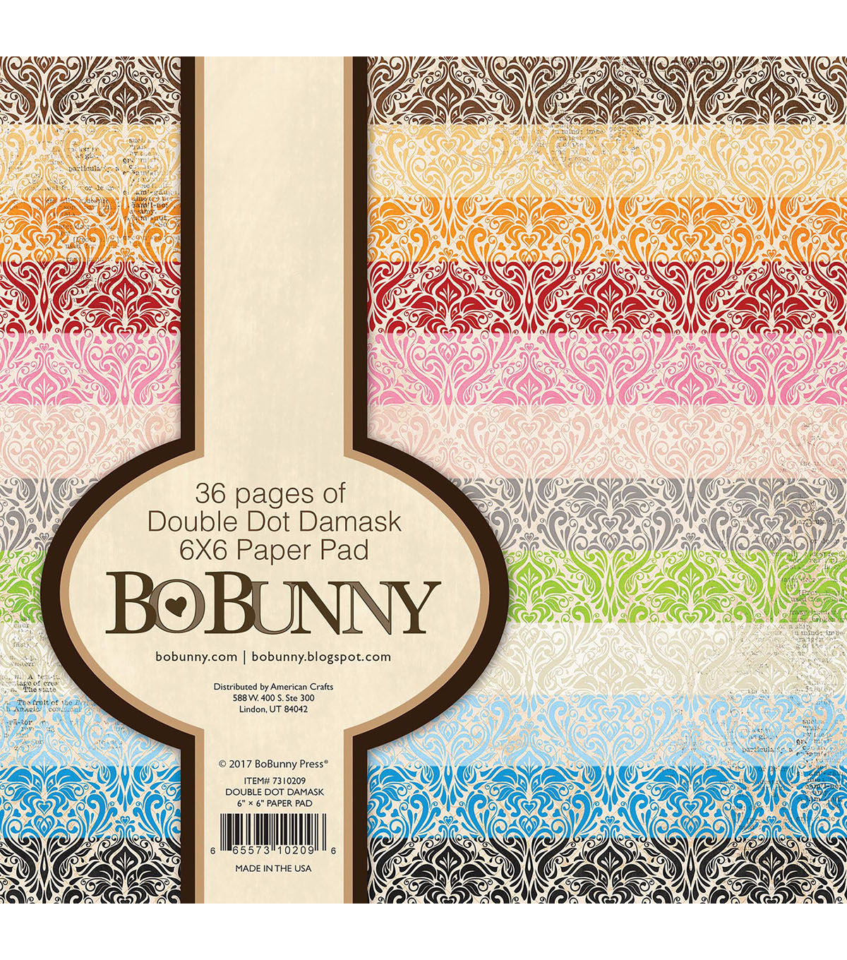 BoBunny Double-Dot 36 sheets 6\u0027\u0027x6\u0027\u0027 Double-Sided Paper Pad-Damask