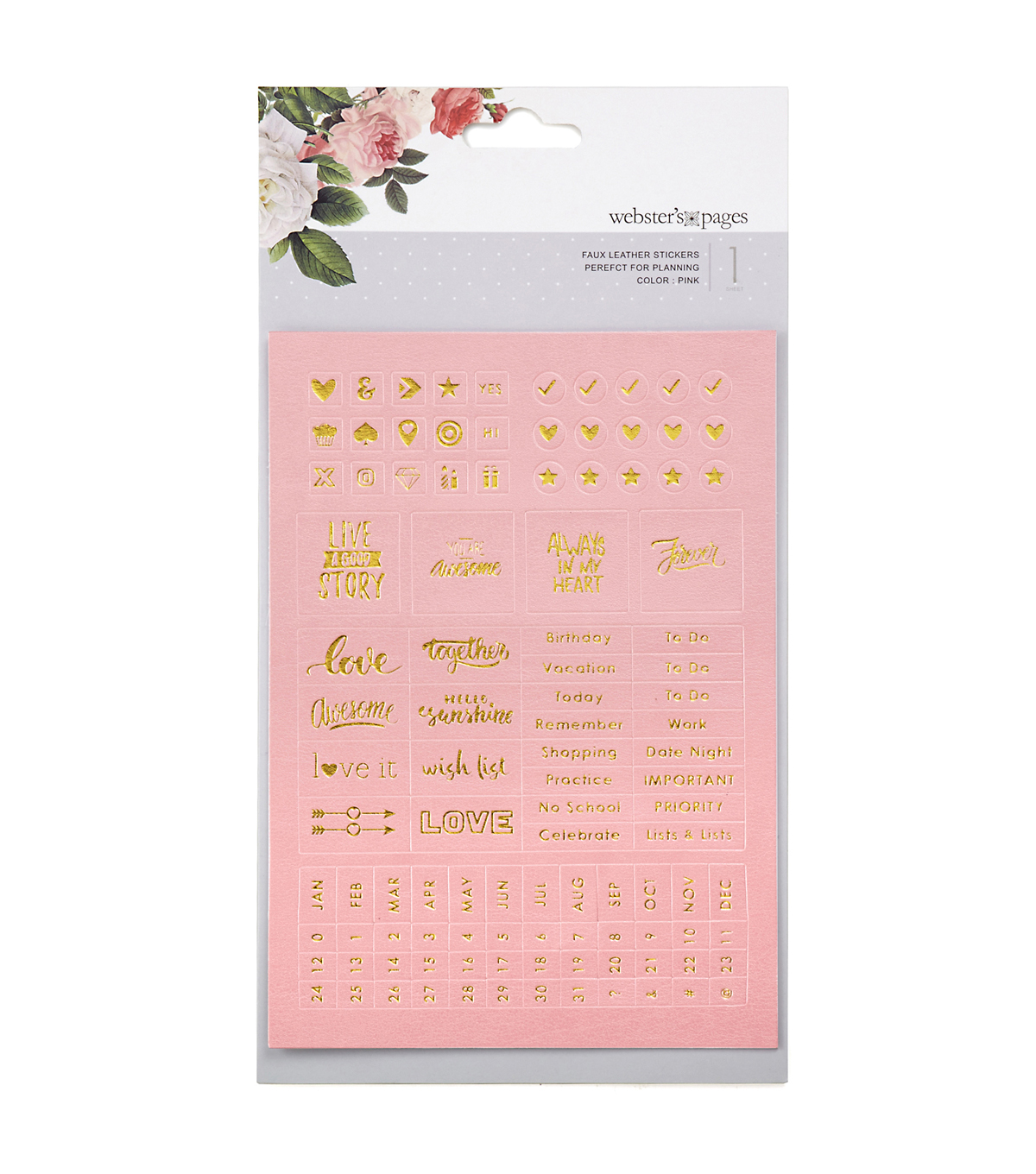 Webster\u0027s Pages 5\u0027\u0027x7\u0027\u0027 Faux Leather Stickers-Pink