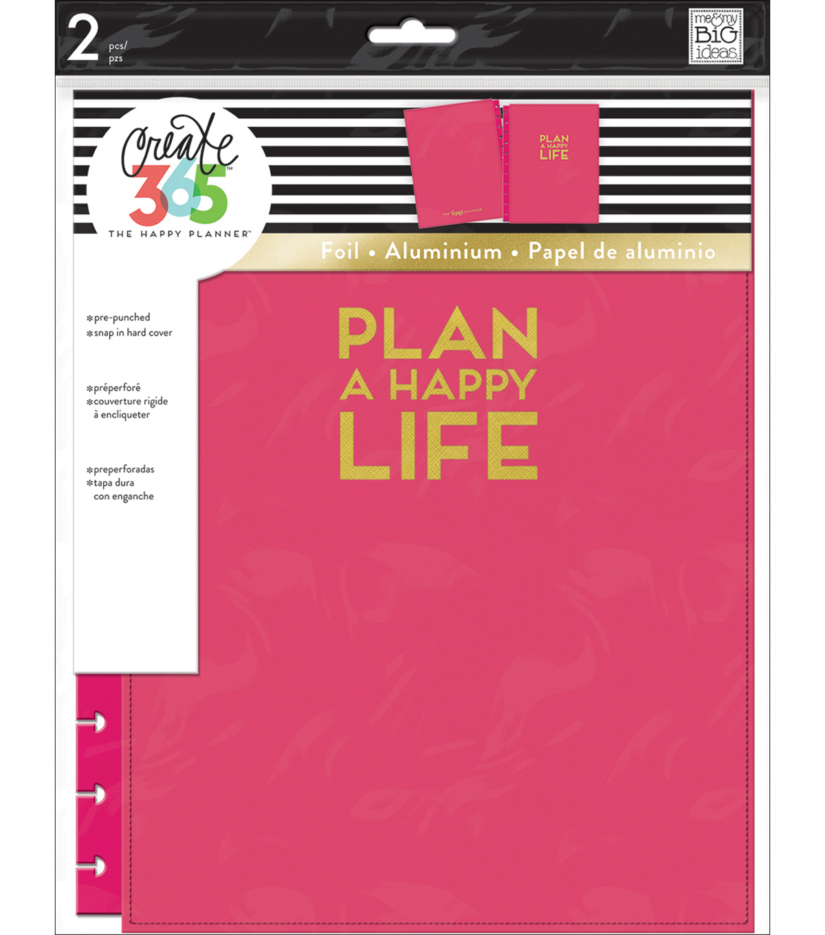 The Happy Planner Big Snap-In Hard Cover Planner-Pink Plan A Happy Life