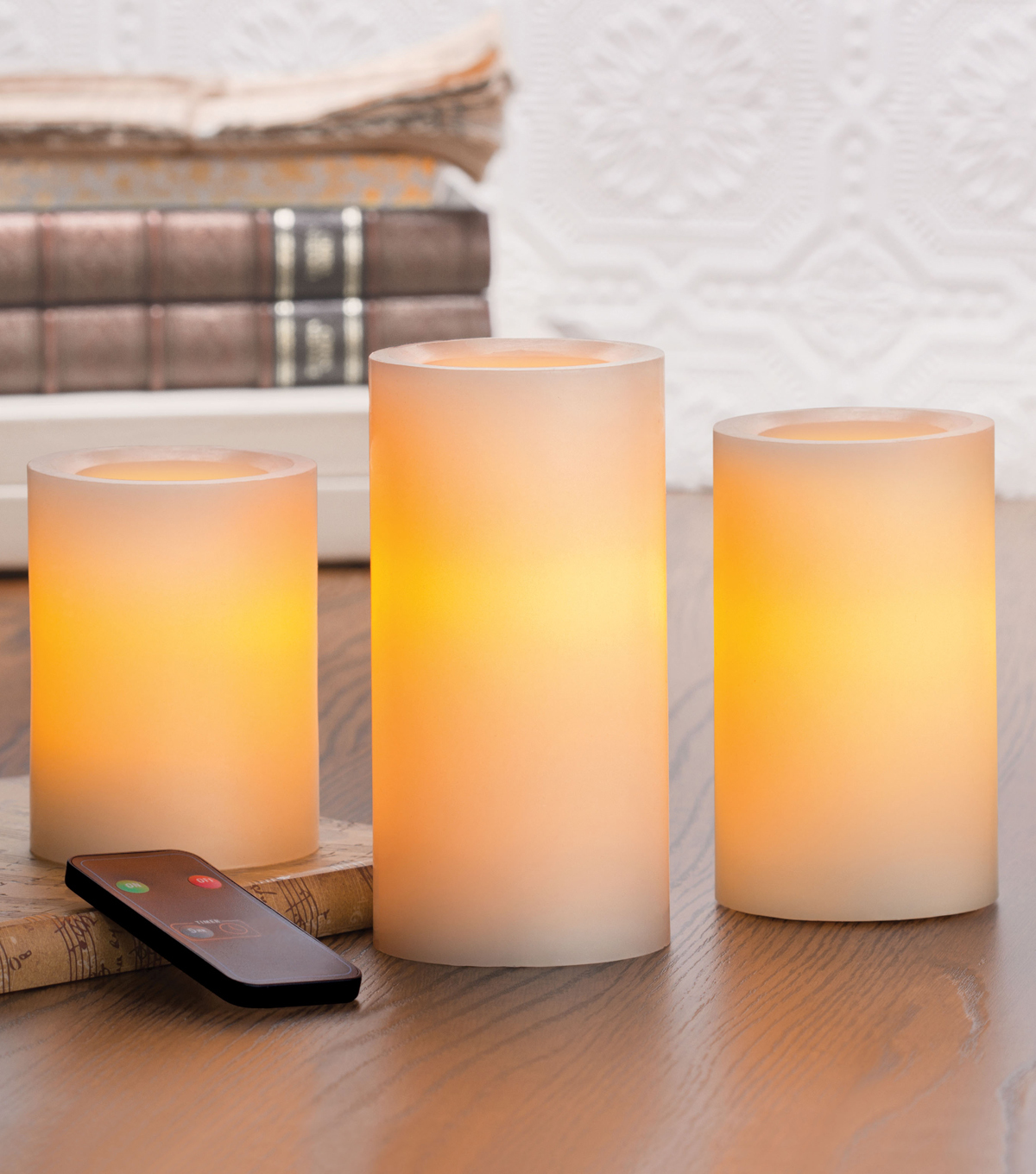 Hudson 43™ Candle&Light Collection 3 Pack Wax Pillar Set 456 W Rc Cream