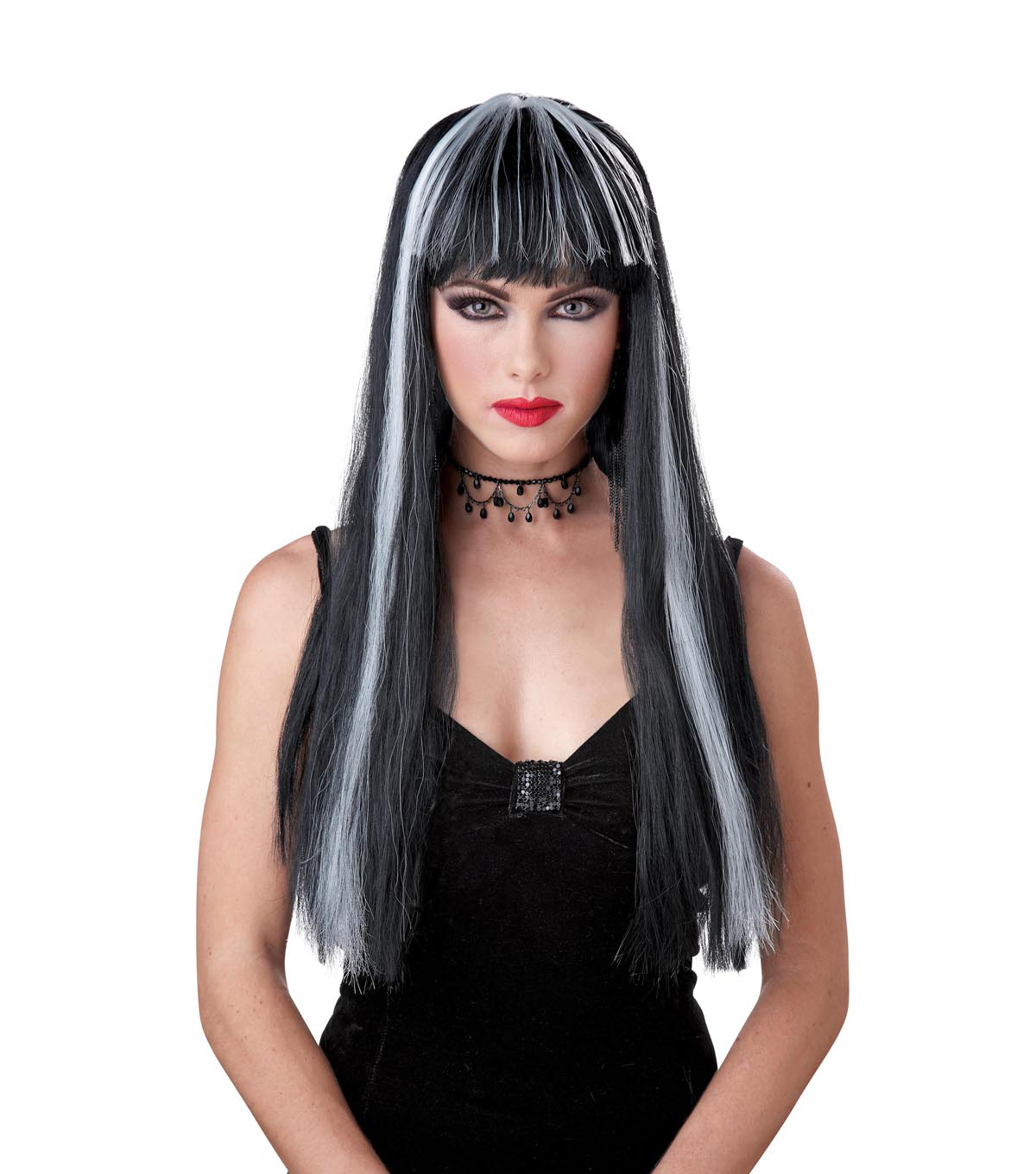 Maker's Halloween 24'' Morticia Wig with Bangs-Black & White Stripe