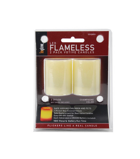 Inglow Unscented Flameless Votive Candles 2pk-Champagne