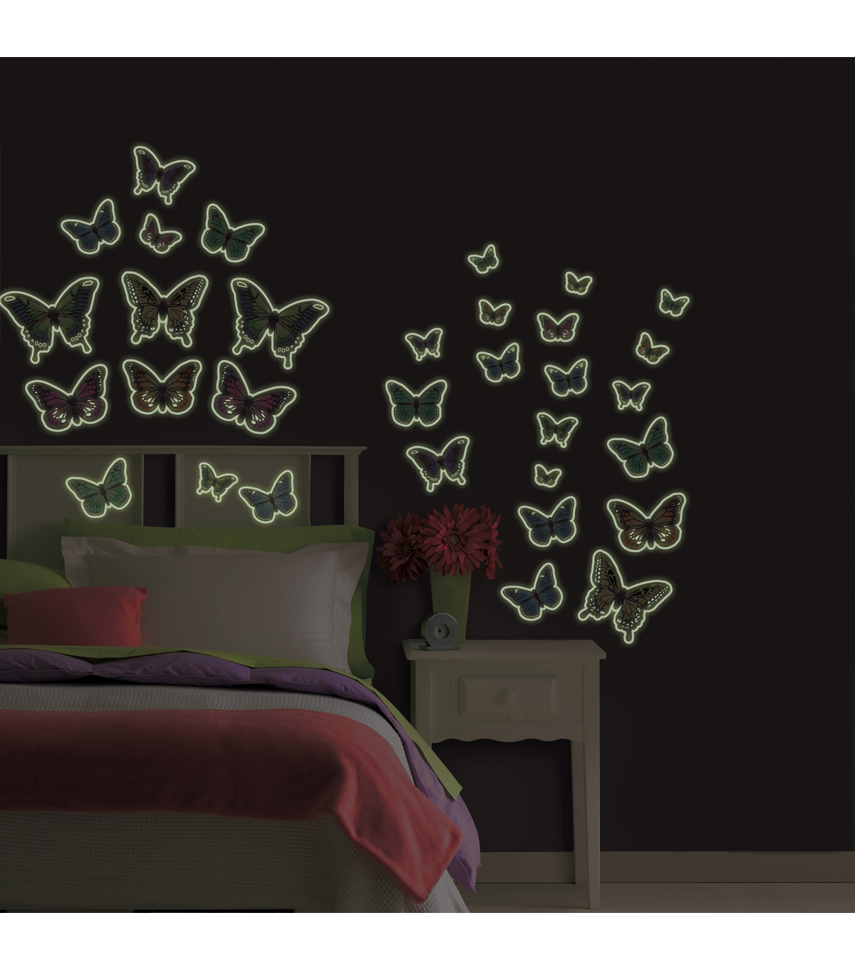 Wall Pops Glow in the Dark Butterflies Appliques, 32 Piece Set
