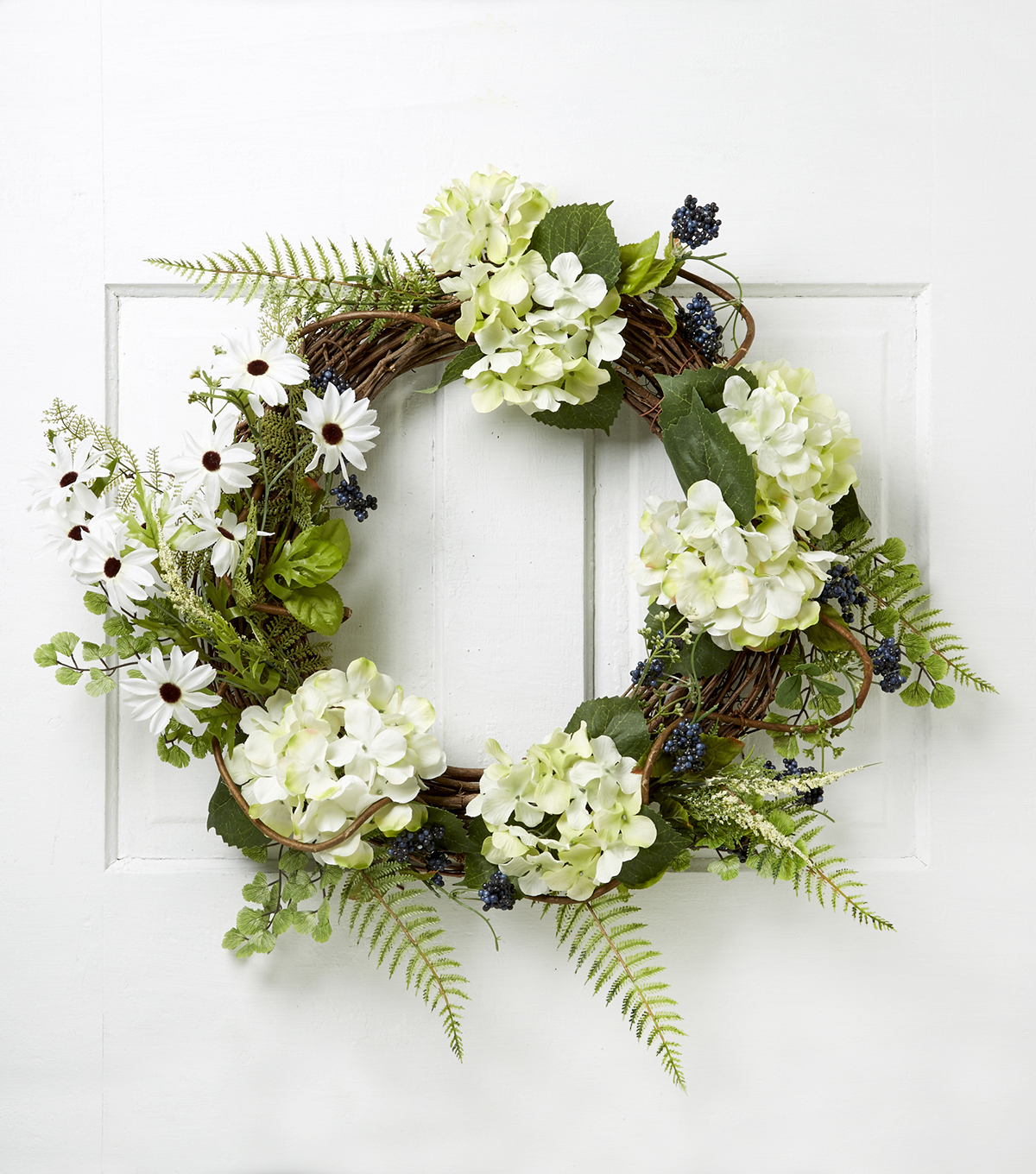 Blooming Spring 22\u0027\u0027 Hydrangea & Daisy Wreath-Green & Cream