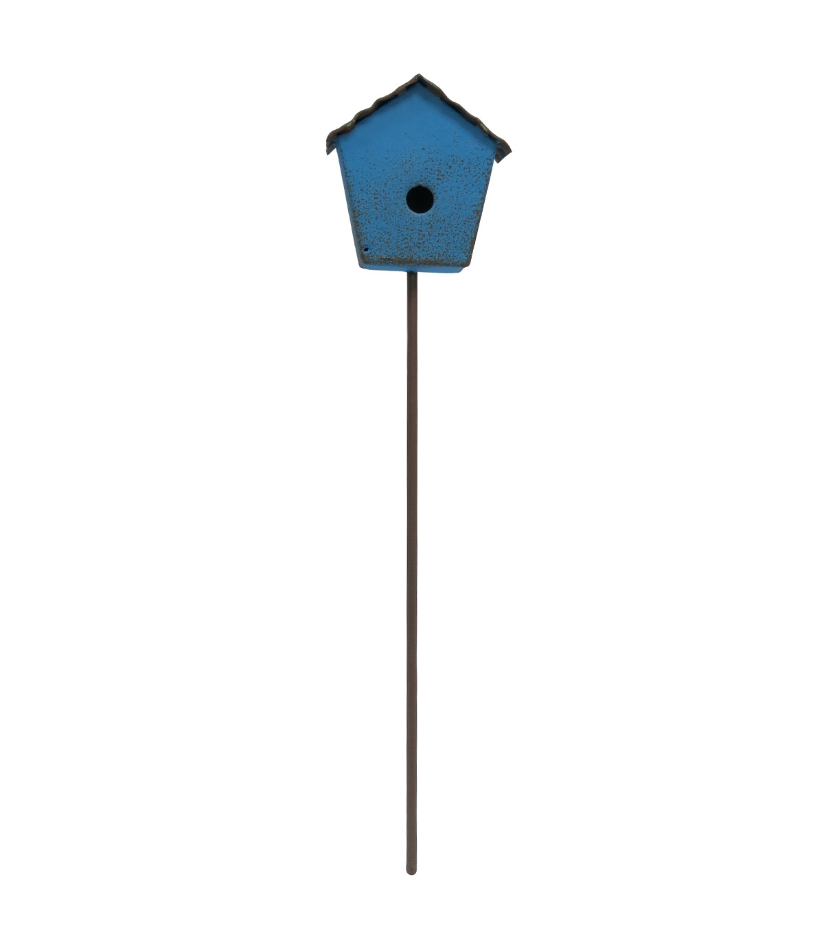 Fairy Garden Metal Birdhouse Pick-Blue