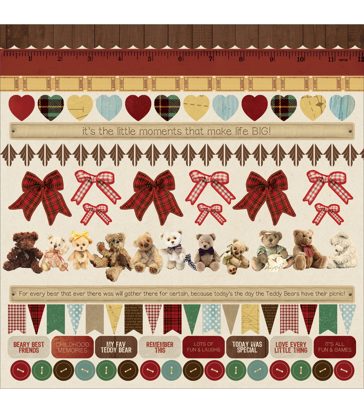 Kaisercraft Teddy Bears Picnic Cardstock Stickers