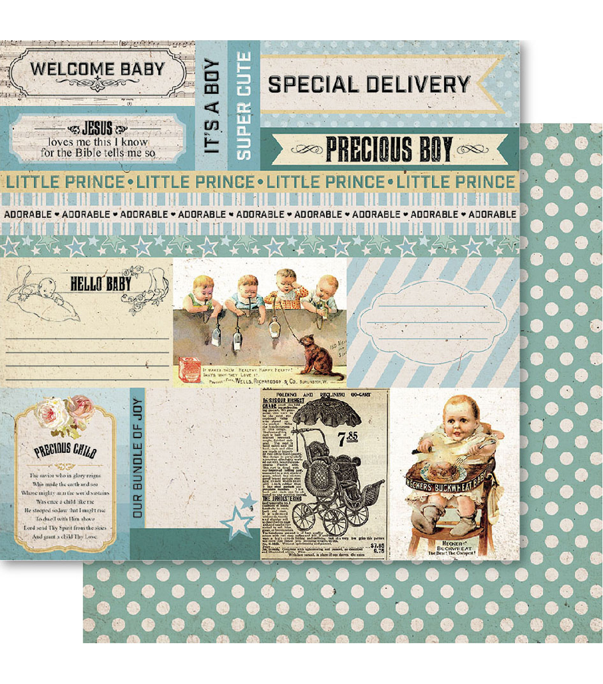 Bella! Baby Boy Double-Sided Cardstock-Precious
