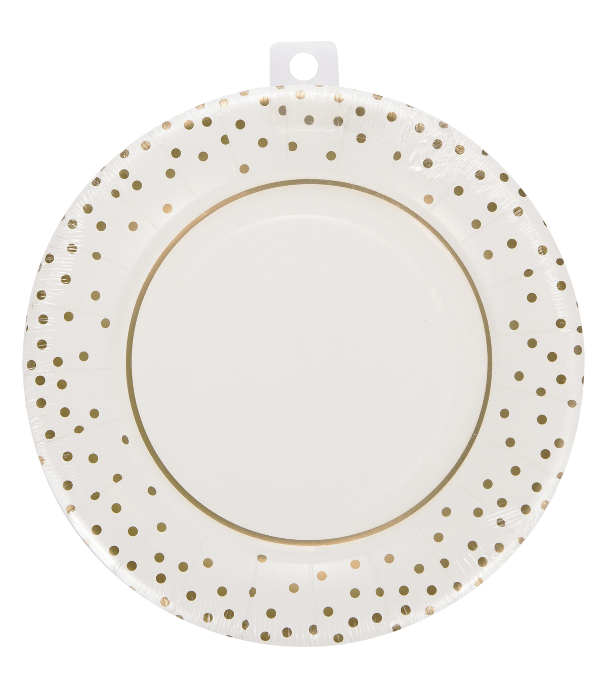 Save The Date™ Pack of 8 8\u0027\u0027 Wide Rimmed Plate-Gold Dot