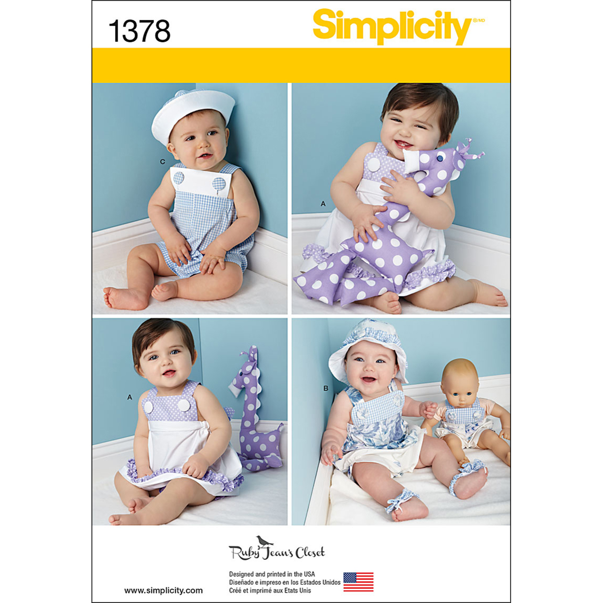 Simplicity Pattern 1378A Infants\u0027 Outfits-Size XS-L