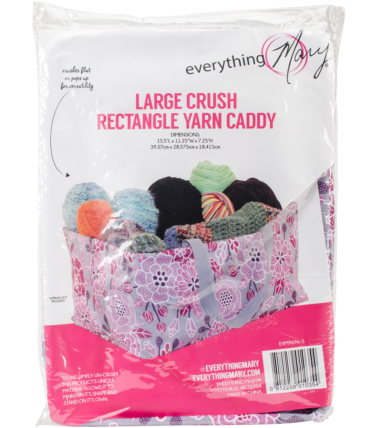 Everything Mary Rectangle Yarn Caddy-Large Crush Print