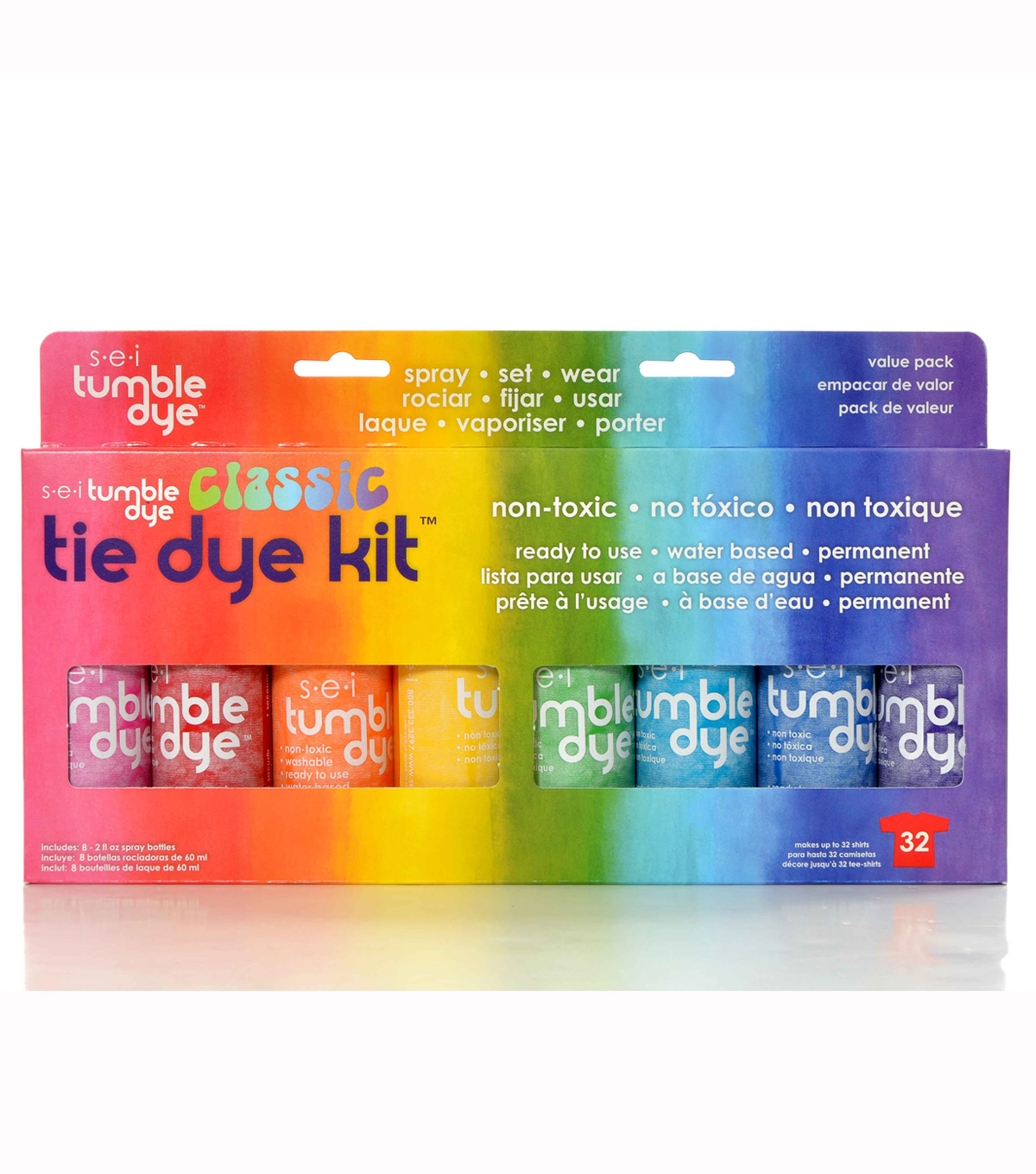 Sei Pack of 8 Tumble Dye Tie Dye Kit-Classic