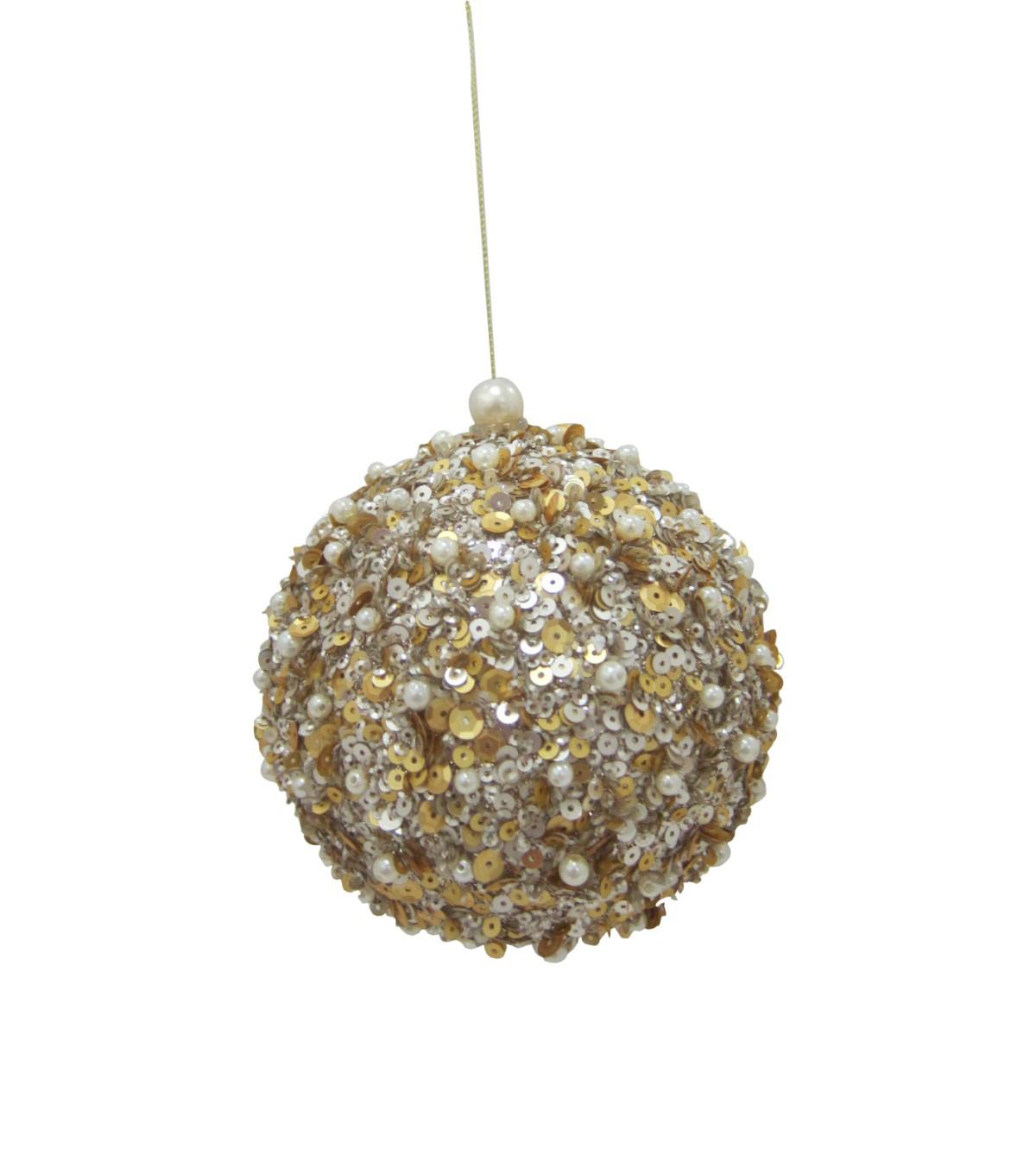 Maker\u0027s Holiday Christmas Glistening Pines Sequined Globe Ornament-Gold