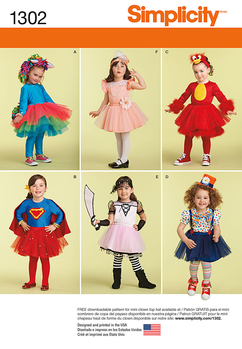Simplicity Pattern 1302A Toddlers\u0027 Costume & Leggings-Size 1/2-1-2-3