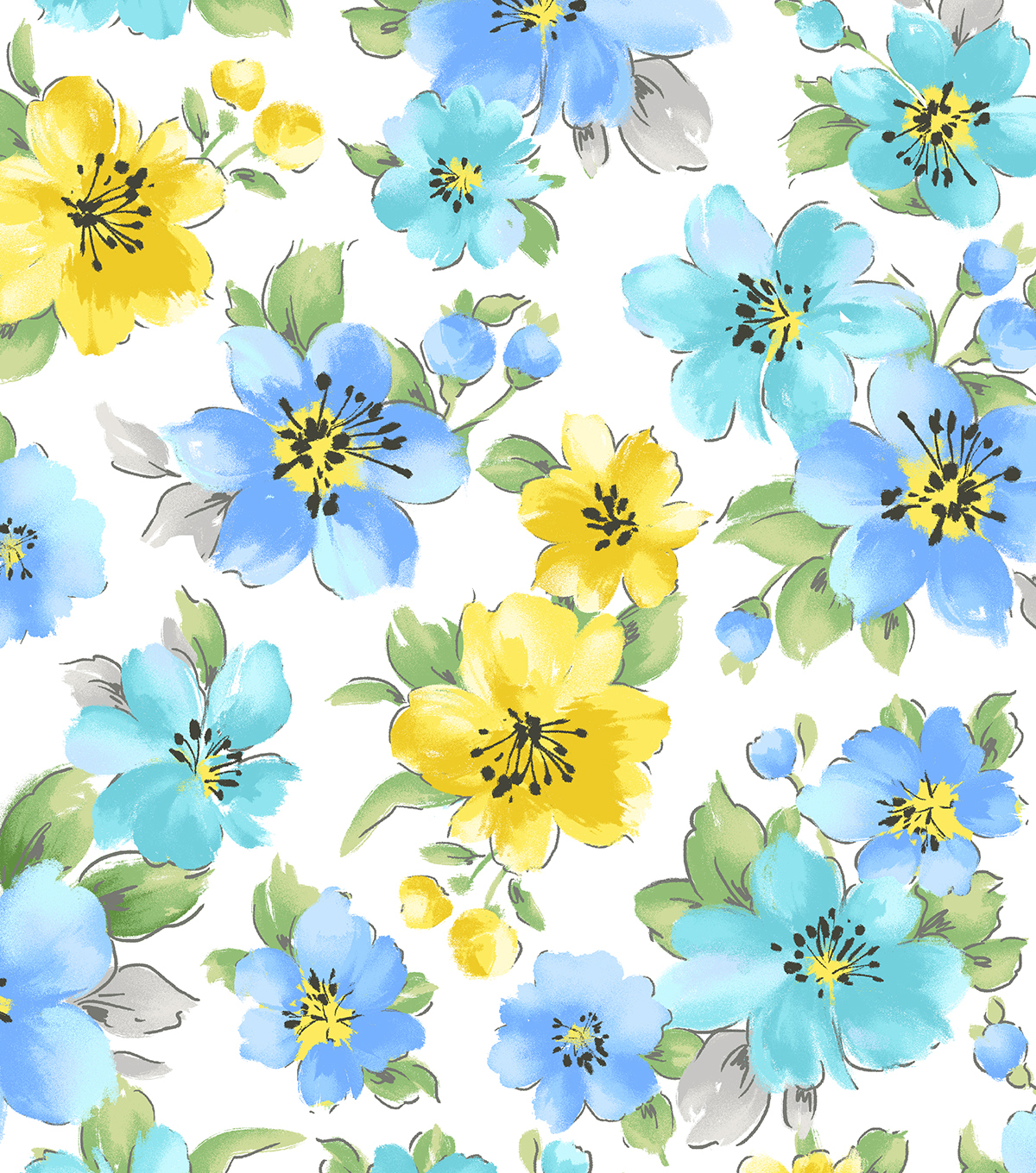 Snuggle Flannel Fabric 42''-Blue & Yellow Hibiscuses