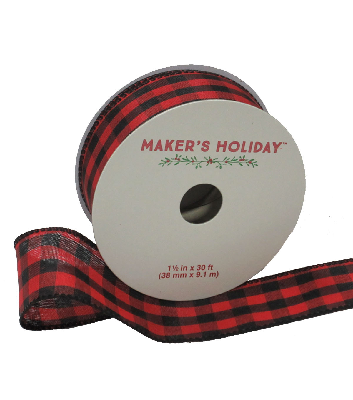 Maker\u0027s Holiday Gingham Ribbon 1.5\u0027\u0027x30\u0027-Red & Black