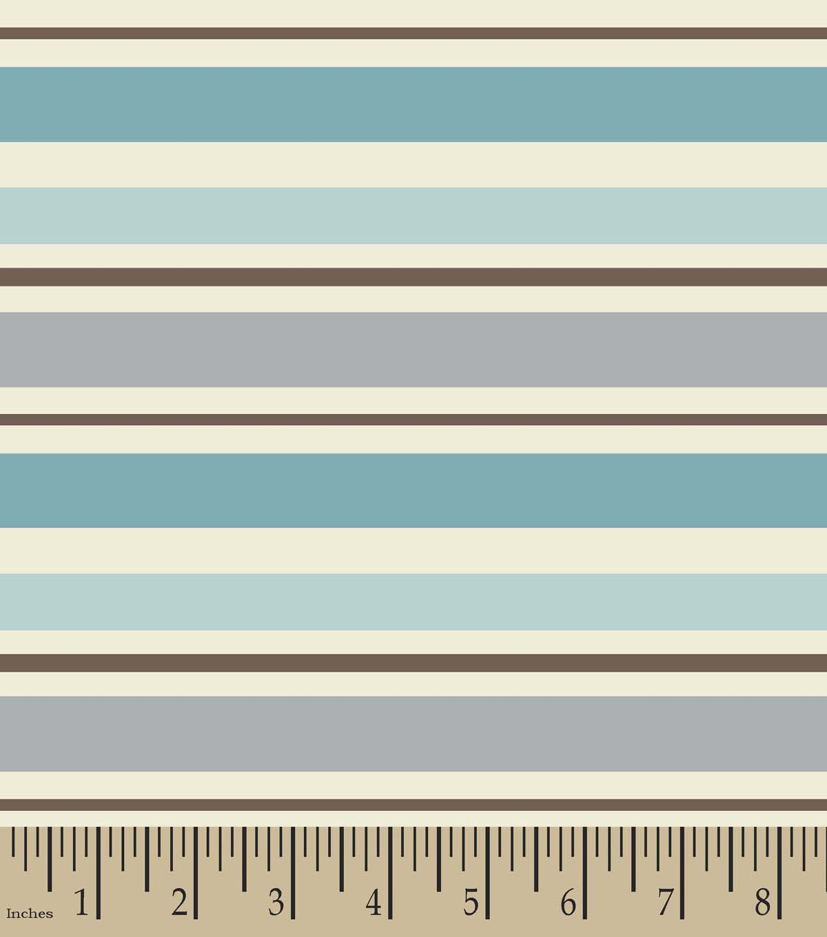 Tan & Teal Striped Print Fabric