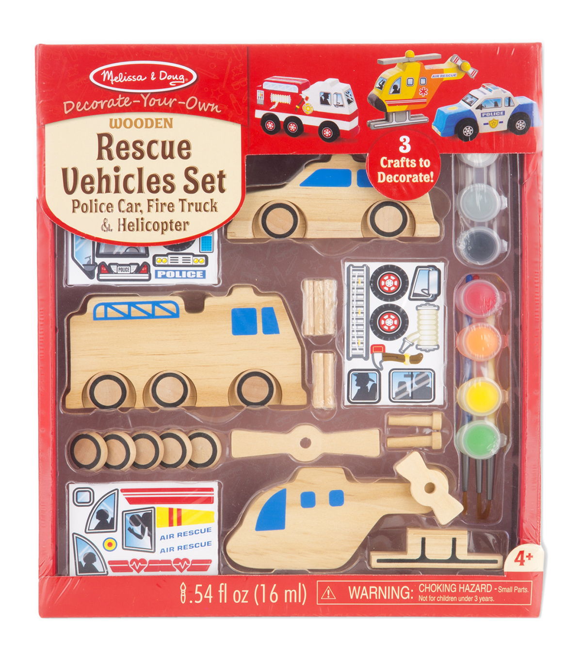 Melissa & Doug Decorate-Your-Own Wooden Kit-Rescue Vehicles