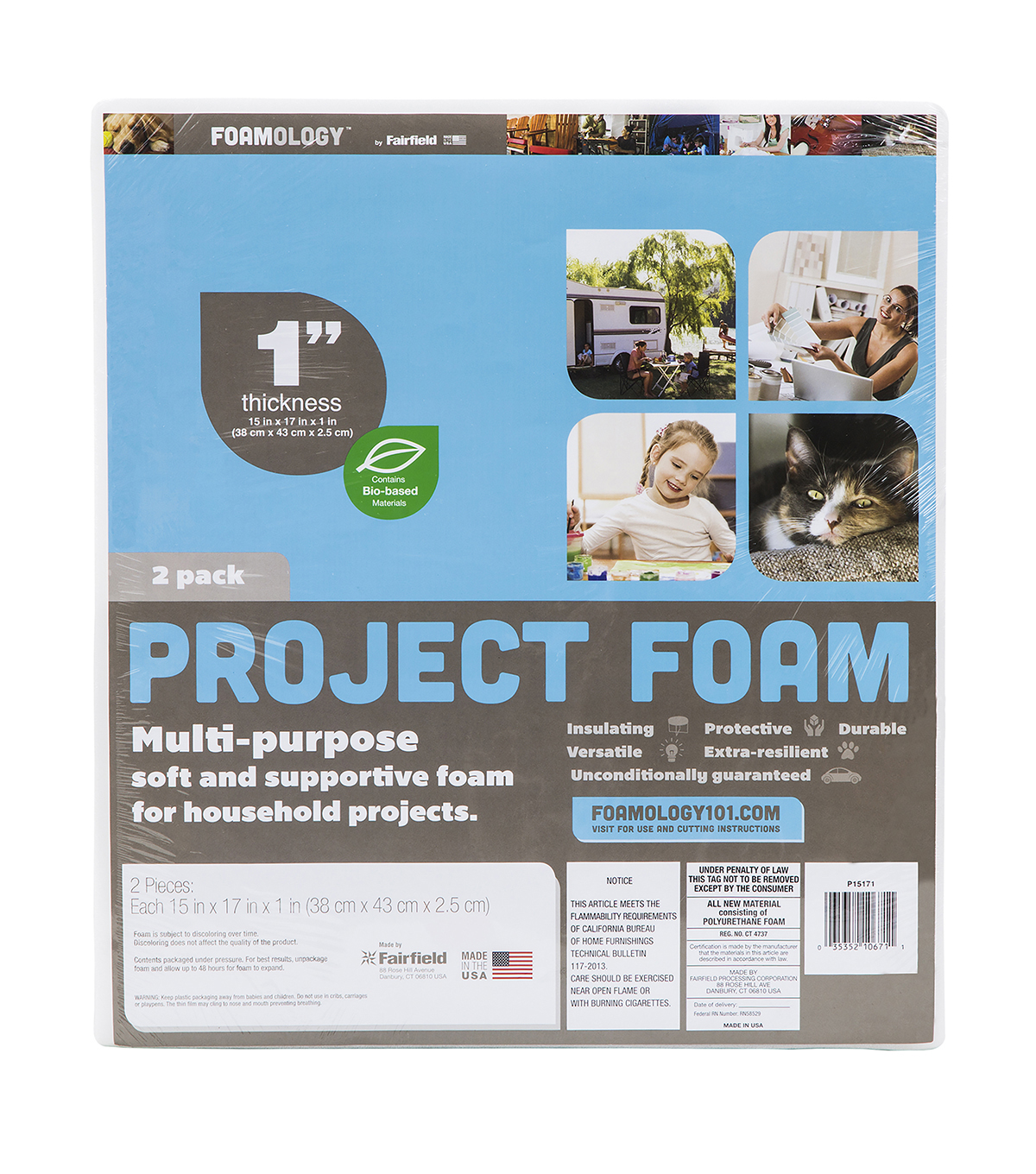 "Project Foam 15"" x 17"" x 1"" - Package of 8 Sheets"