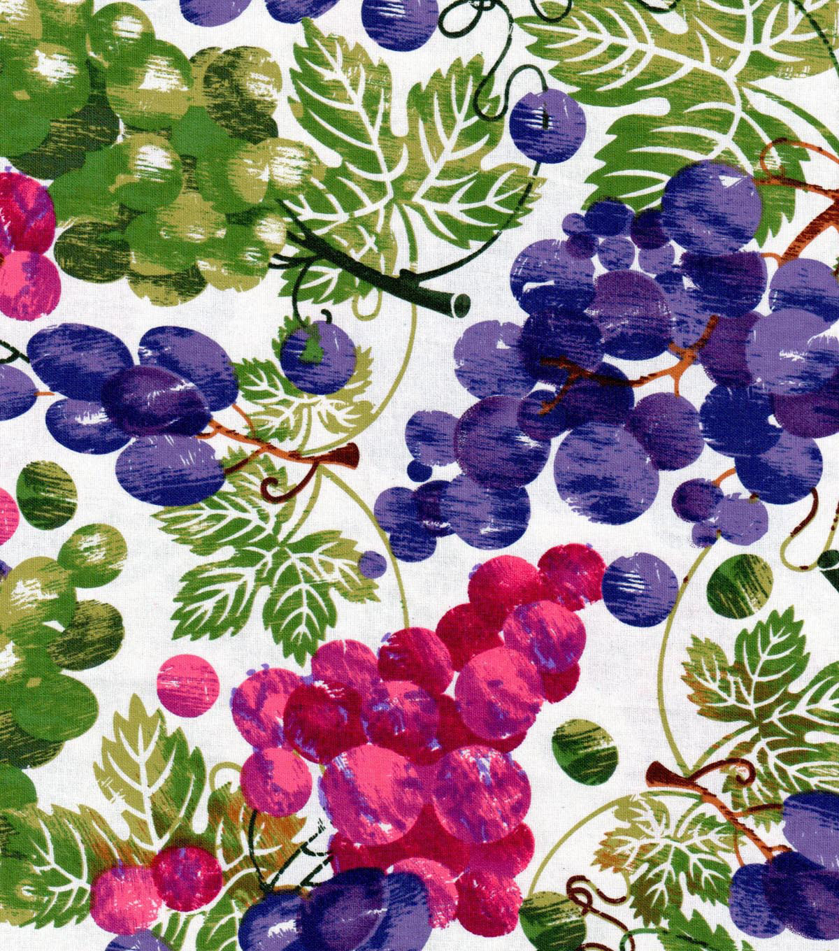Vineyard Fabric - Multi Colored Grapes On Leaves