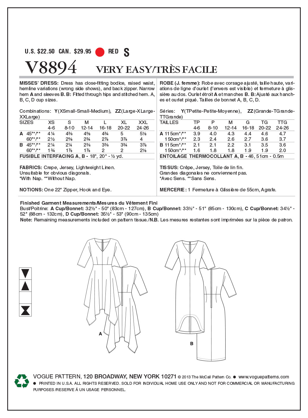 Vogue Patterns Misses Dress-V8894
