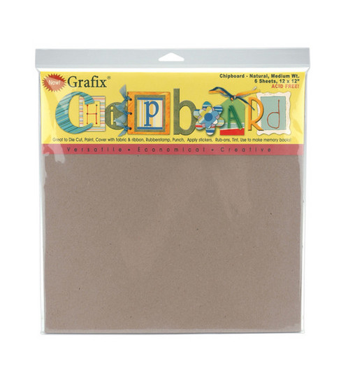 Grafix 12\u0022x12\u0022 Medium Weight Chipboard Sheets-6PK/Natural