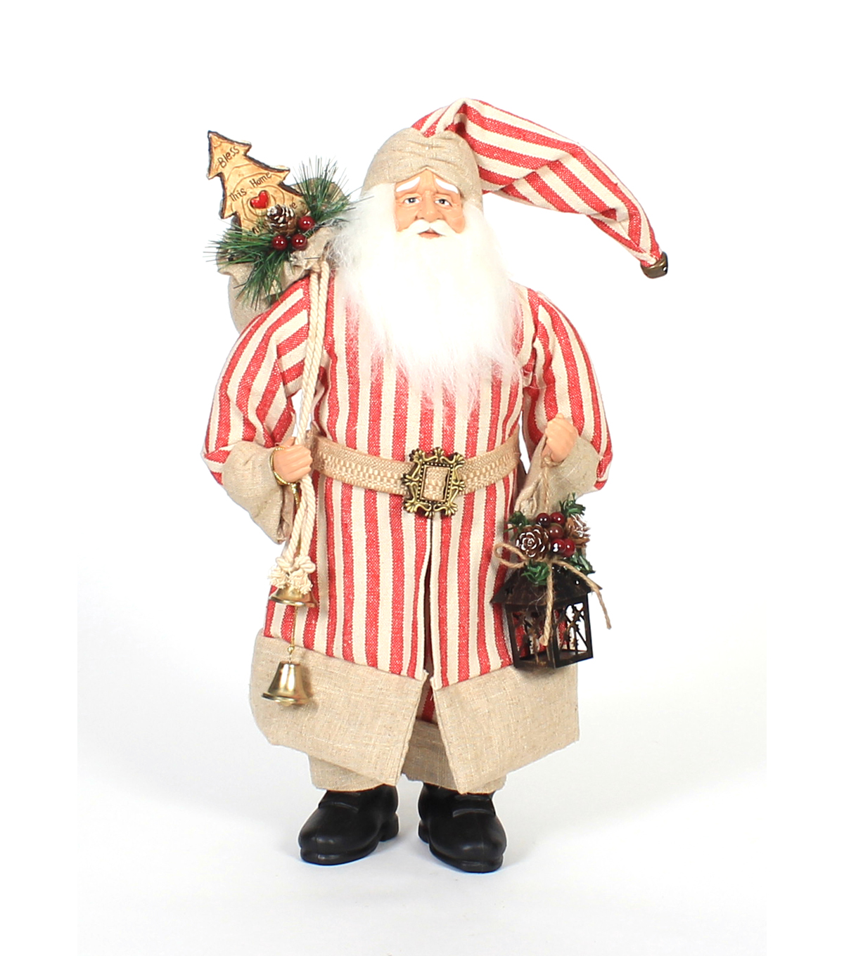 Maker\u0027s Holiday Christmas 18\u0027\u0027 Polyester & Plastic Santa with Gift Bag