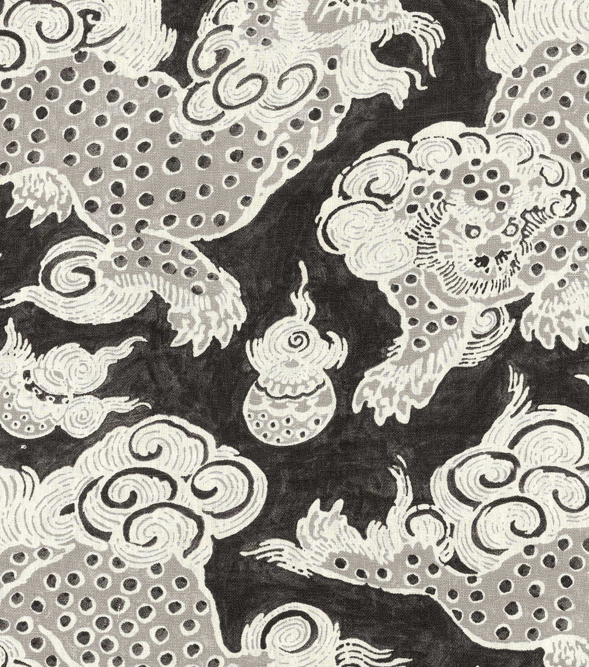 P/K Lifestyles Print Fabric-Dunmore Dragons/Black Orchid