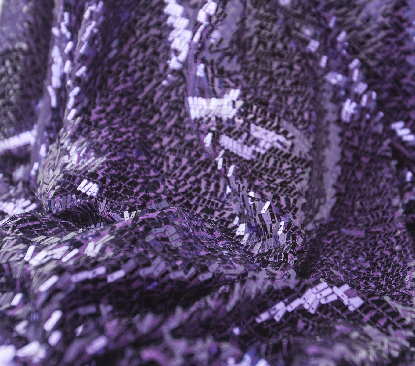 SUEDEsays Fabric- Deco Sequin Fringe Mystic Purple