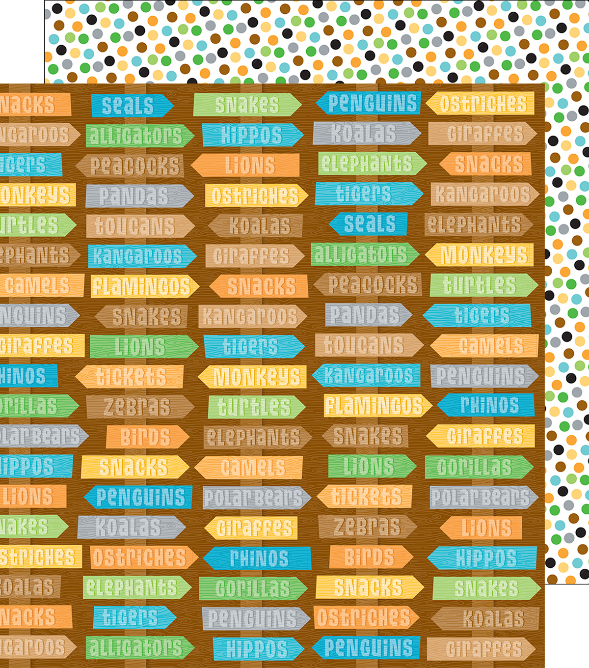 At The Zoo Double-Sided Cardstock 12\u0022X12\u0022-Zippity Zoo Dots