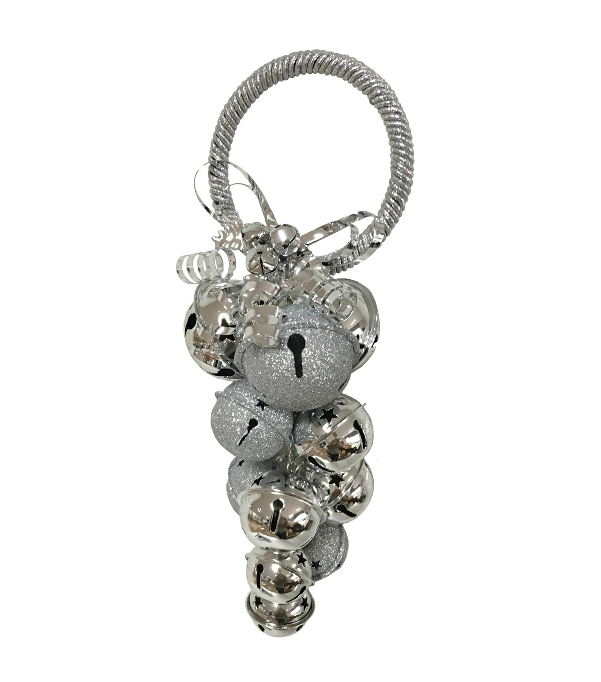 Maker\u0027s Holiday Jingle Bell Cluster Door Hanger-Silver