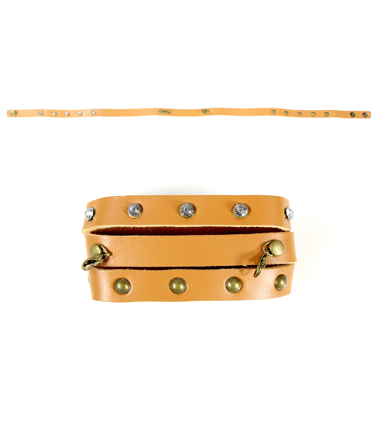 Blue Moon Beads \u0022Bespoken\u0022 22 inches Leather Wrap, Tan with Studs