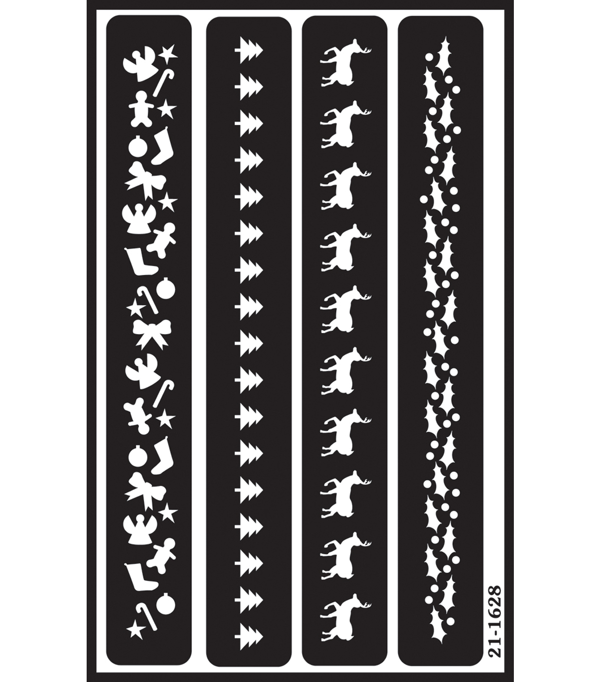 Over \u0027n\u0027 Over Reusable Glass Etching Stencils-Christmas Borders