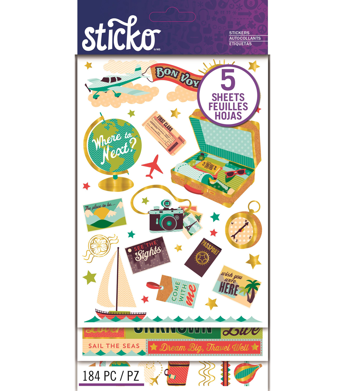 Sticko® 184 Pack Flip Stickers-Bon Voyage