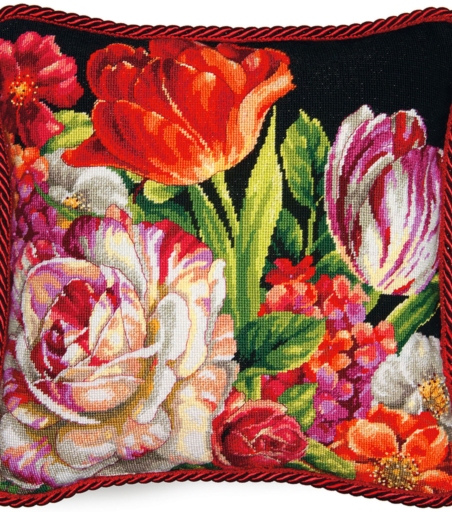 Bouquet On Black Needlepoint Kit 14\u0022X14\u0022 Stitched In Thread