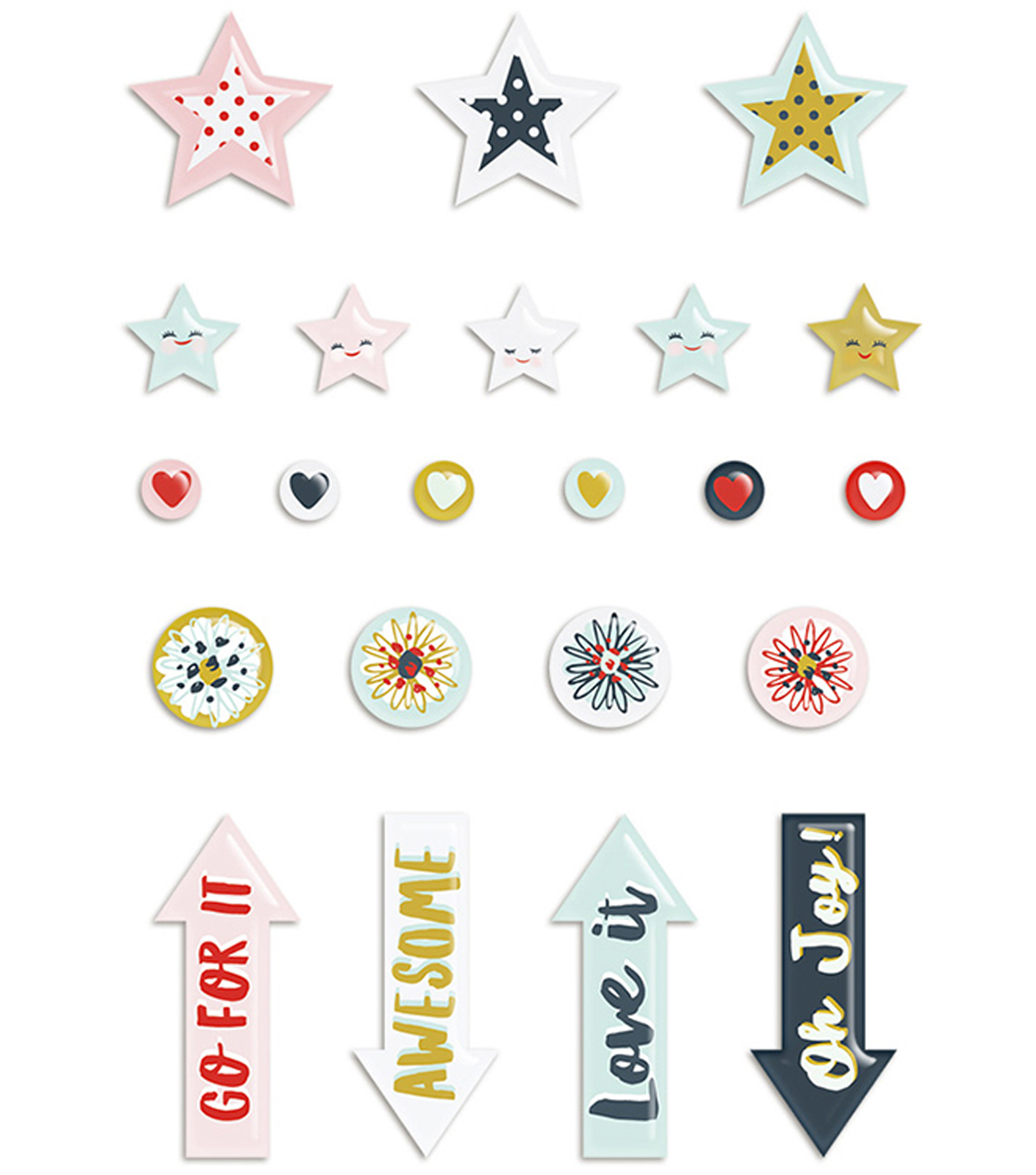 Dream Big Puffy Stickers-Icons