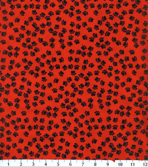 "Novelty Cotton Fabric 44""-Black Paws On Red"
