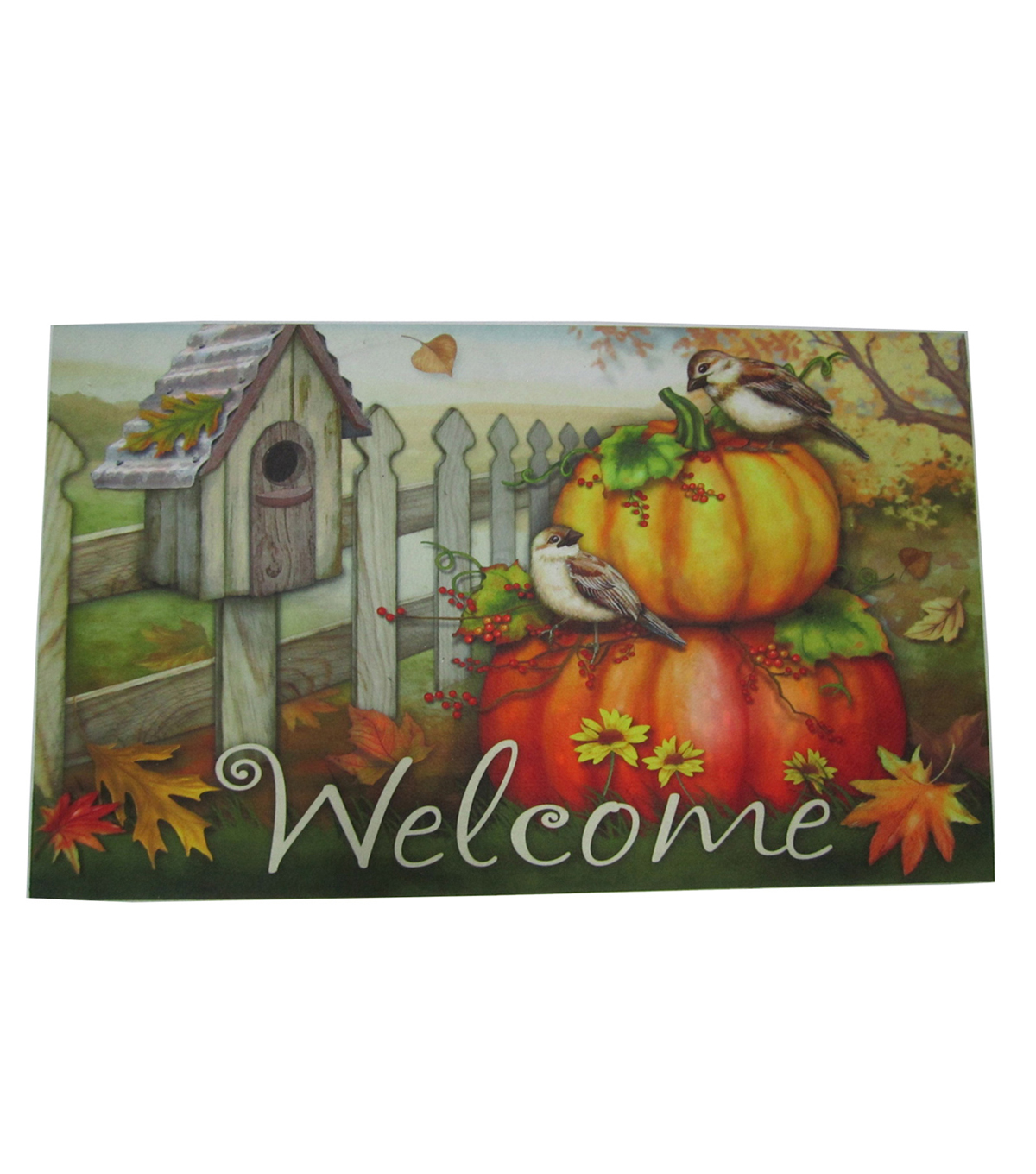Fall Into Color Rubber Door Mat-Bird & Welcome