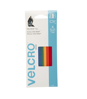VELCRO® Brand ONE-WRAP® Ties 8in x 1/2in  multi color, 5 ct