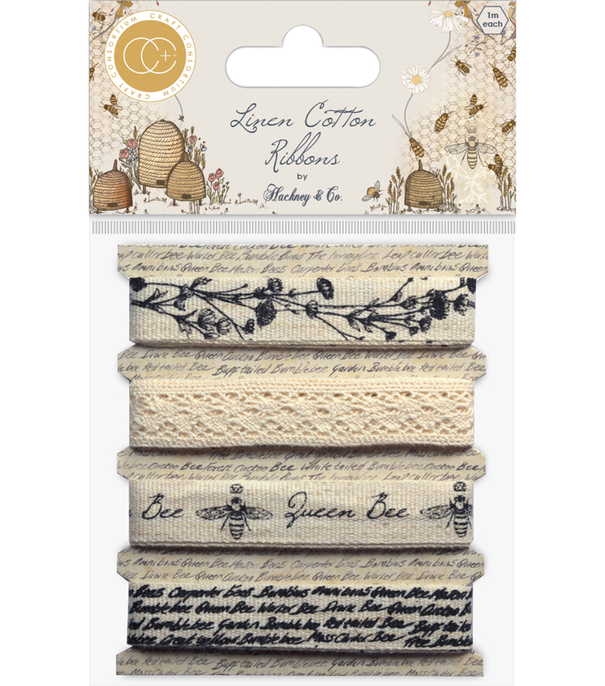 Craft Consortium 4 pk Tell The Bees Ribbon-Cotton & Linen