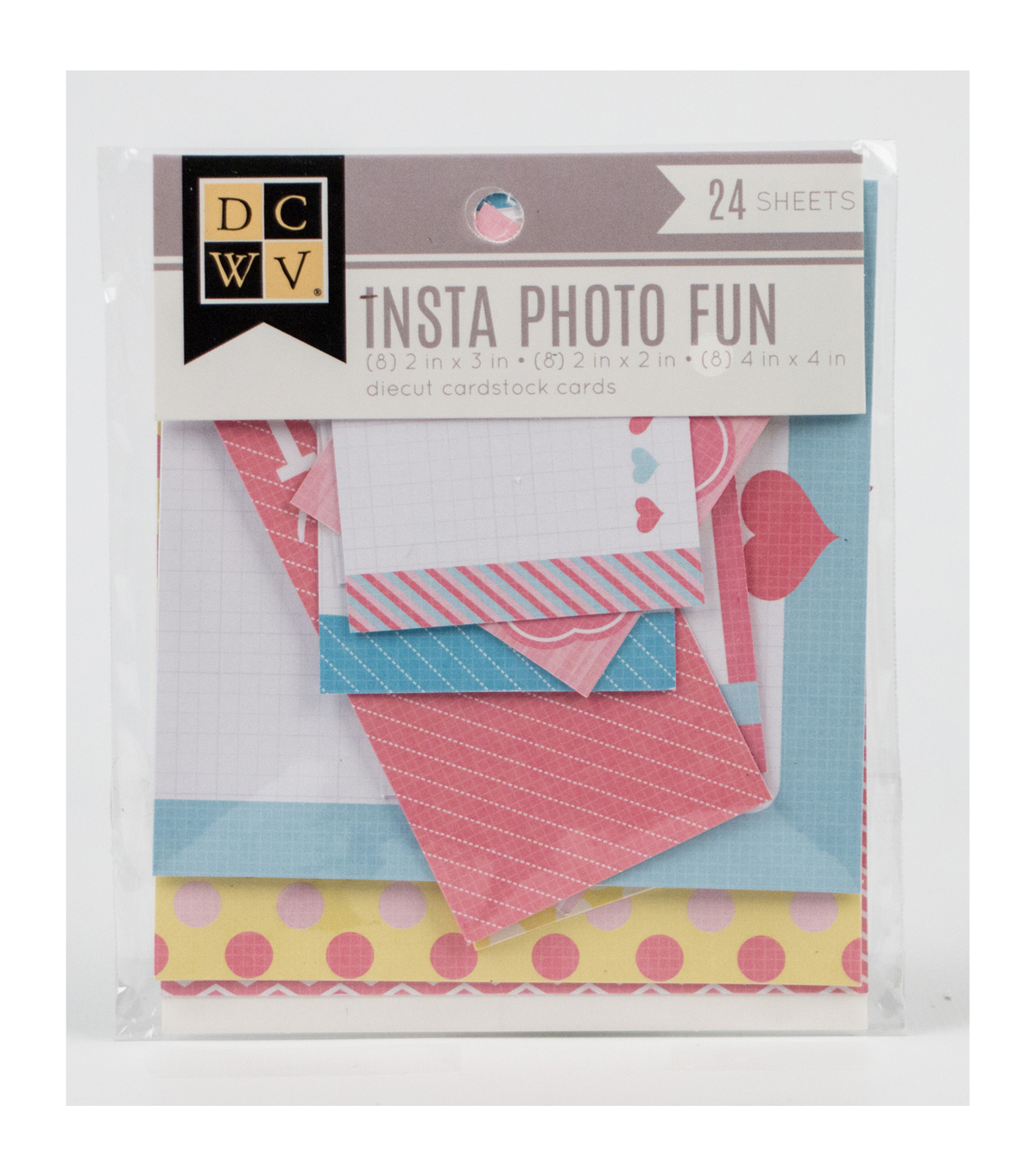 DCWV Insta Photo Fun Accessories: Pastel-themed pages and cards