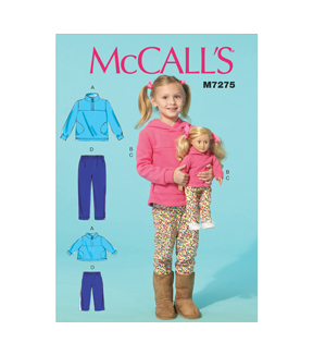 Mccall Pattern M7275-Cl0-Children\u0027S/Girls\u0027/18 Dolls\u0027 Tops And Pants-6-7-8