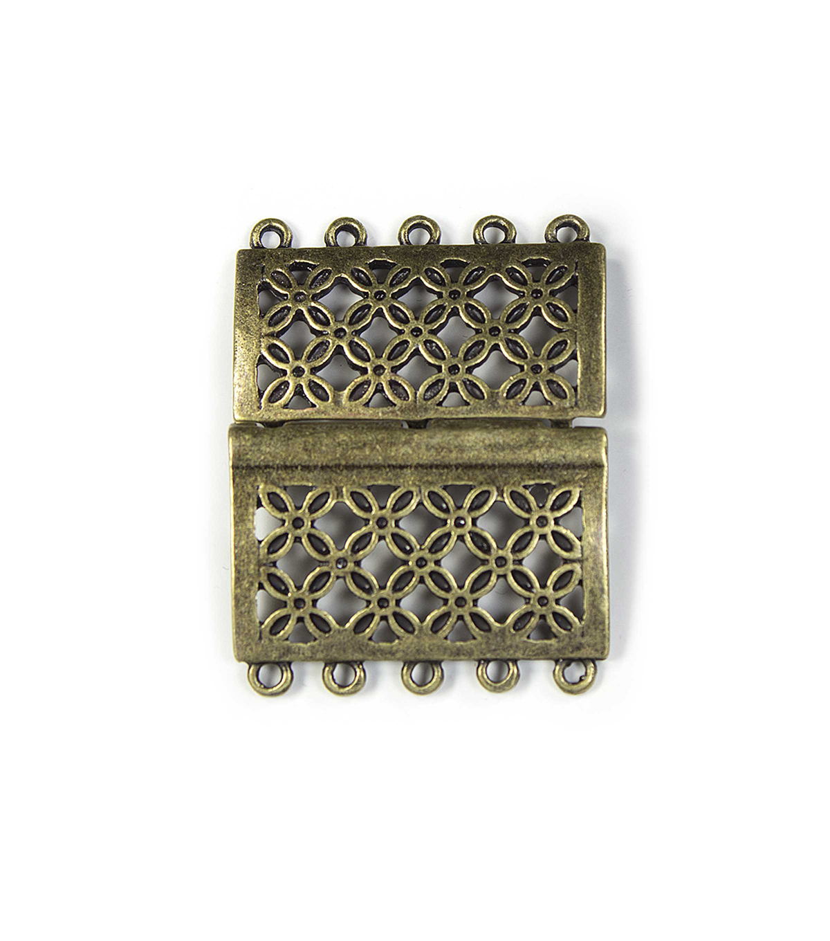 Blue Moon Findings Clasp Metal Slider Rectangle 5 Loop Oxidized Brass