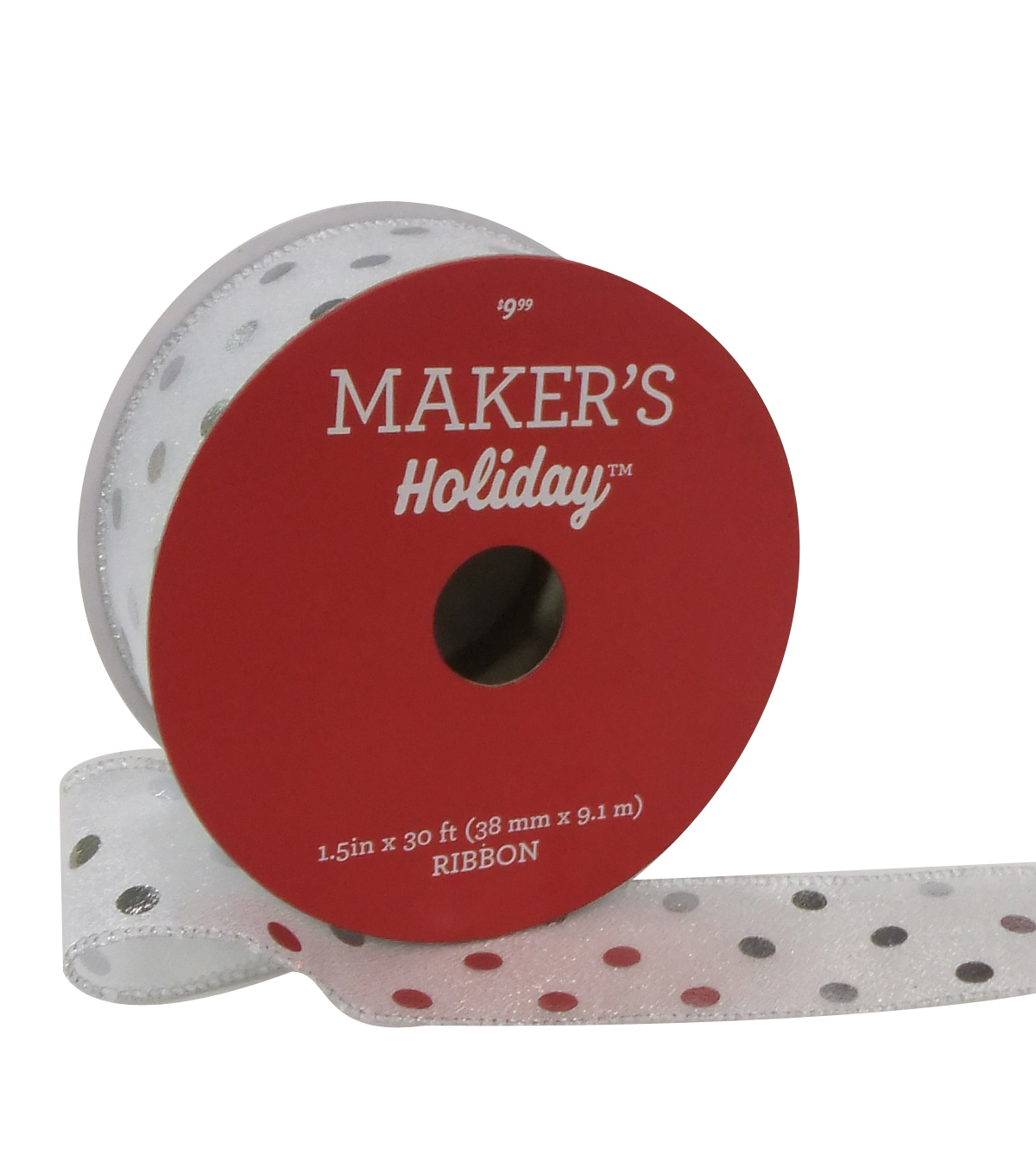 Maker\u0027s Holiday Christmas Ribbon 1.5\u0027\u0027x30\u0027-Silver Dots on Silver