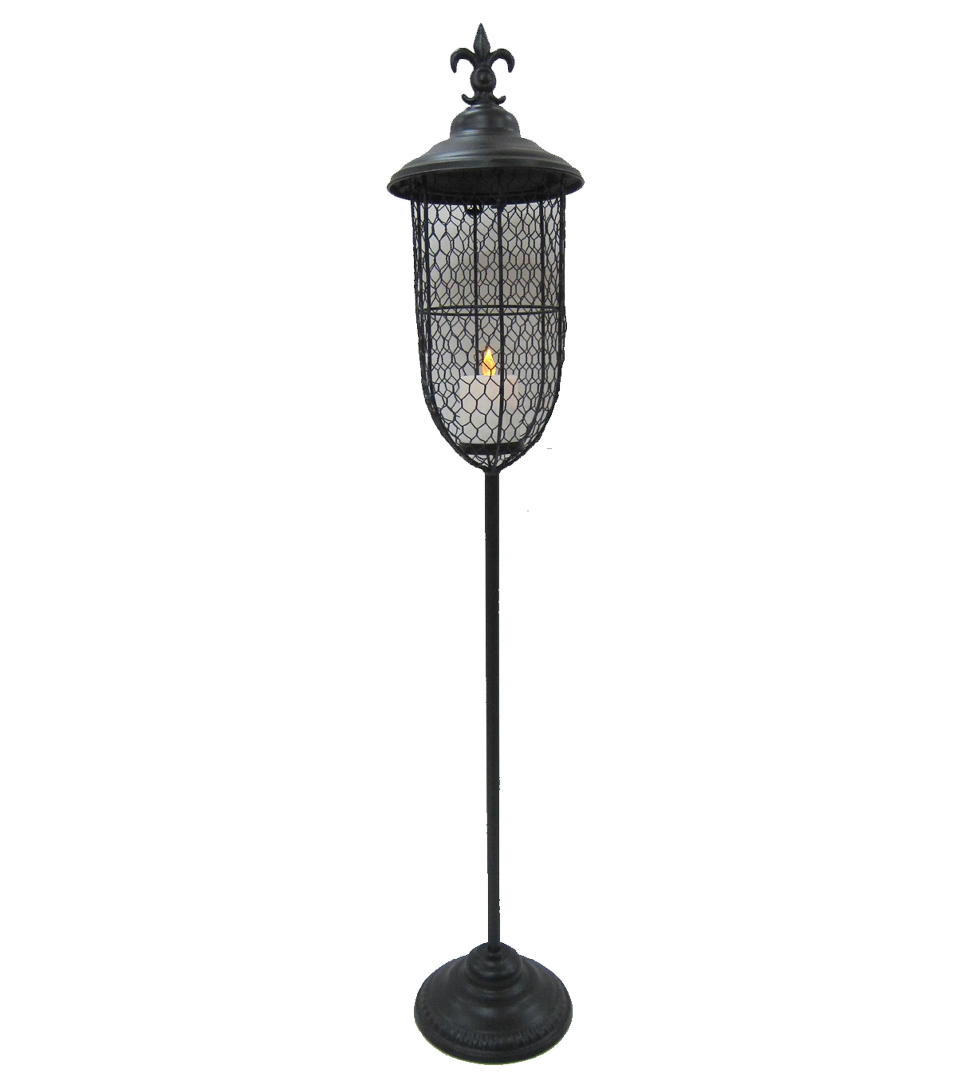 Maker's Halloween Large Metal Lantern with LED Candle