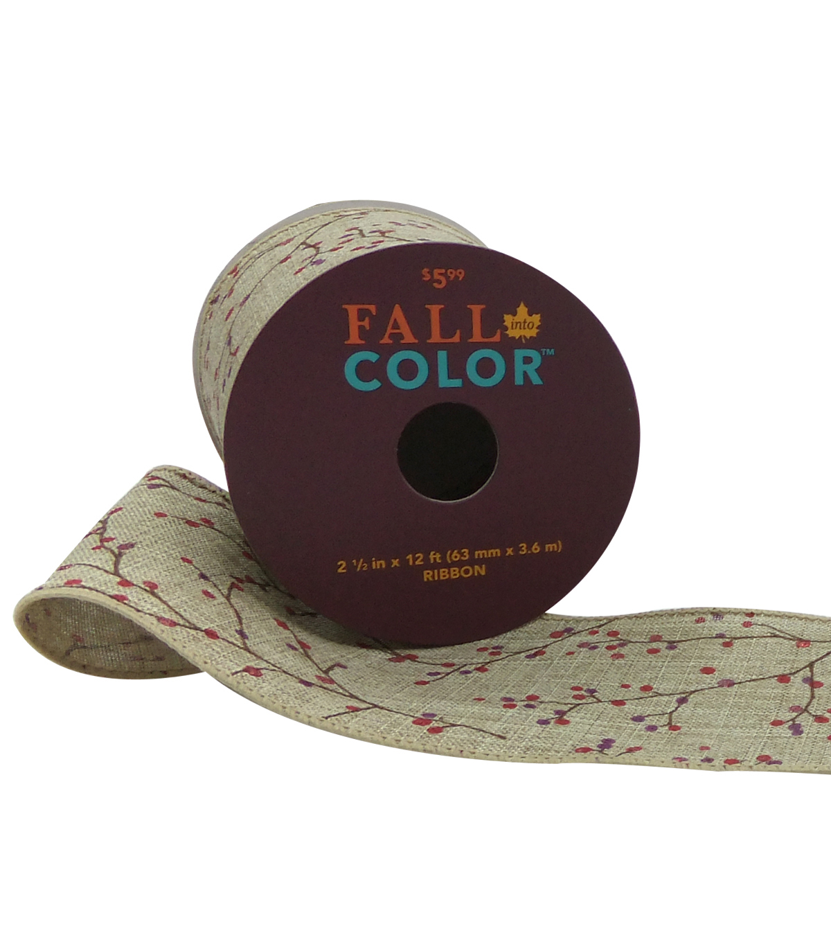 Fall Into Color Ribbon 2.5''x12'-Berries on Natural