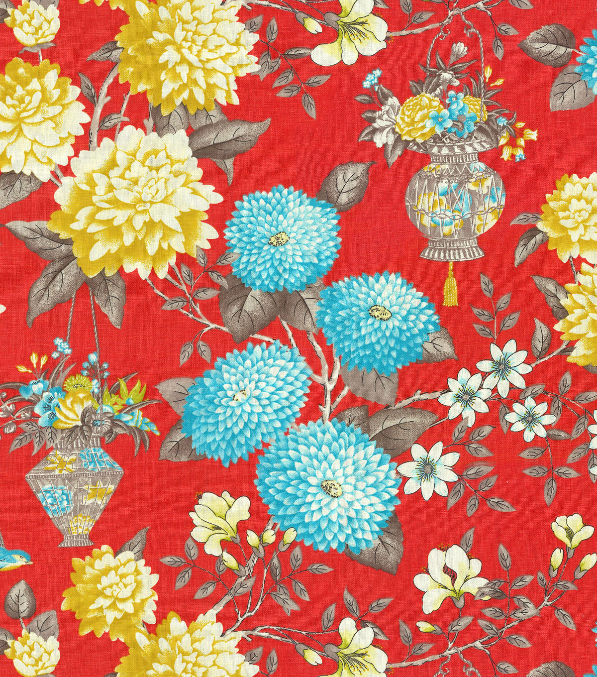 "P/K Lifestyles Print Fabric 54""-Lightfoot Garden/Persimmon"
