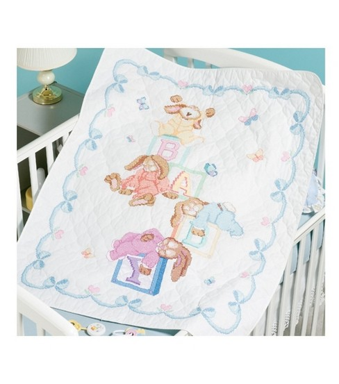 Sleepy Bunnies Quilt Stamped Cross Stitch Kit-34\u0022x43\u0022