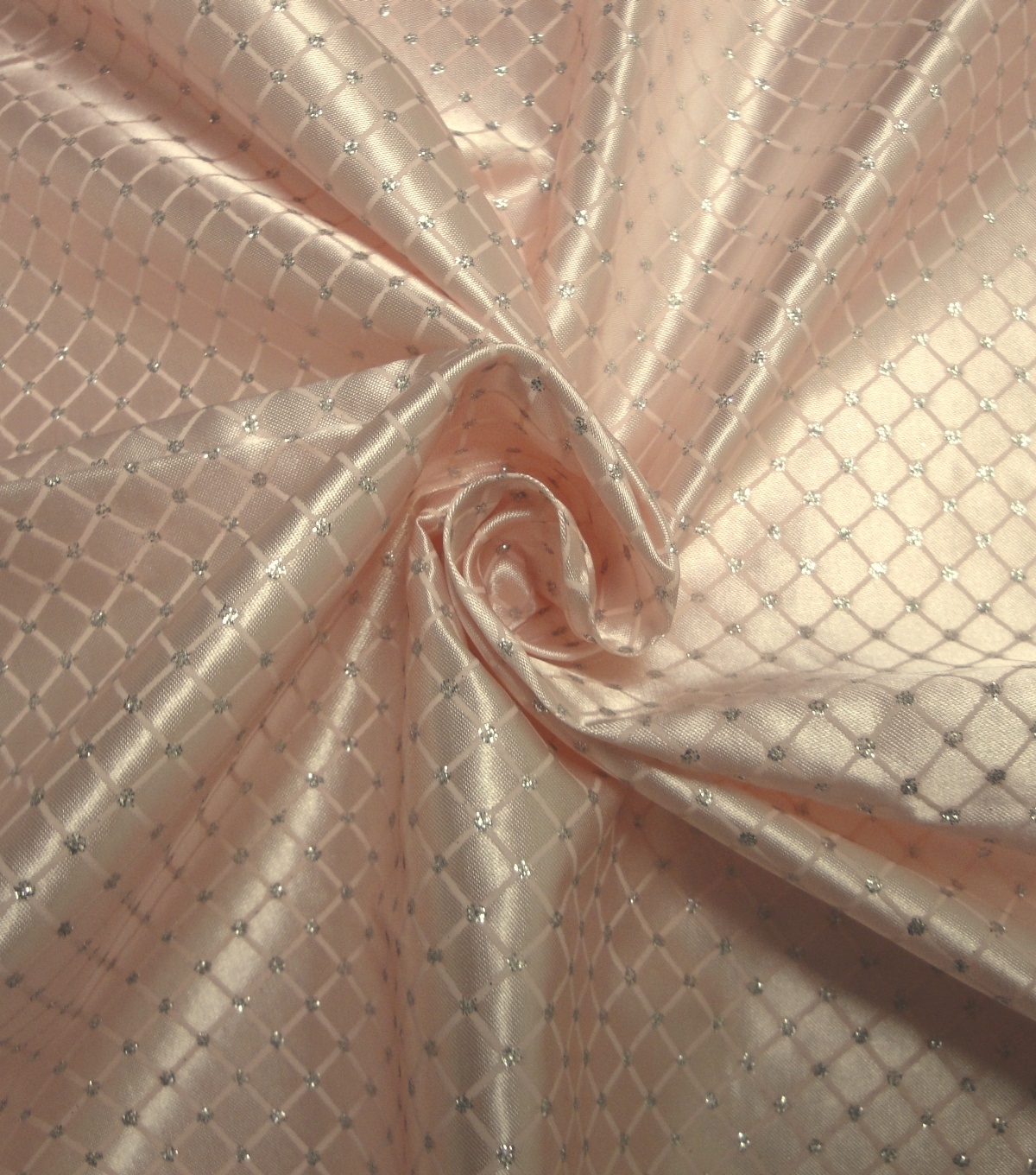 Glitterbug Satin Fabric 59''-Pink & Silver Diamond