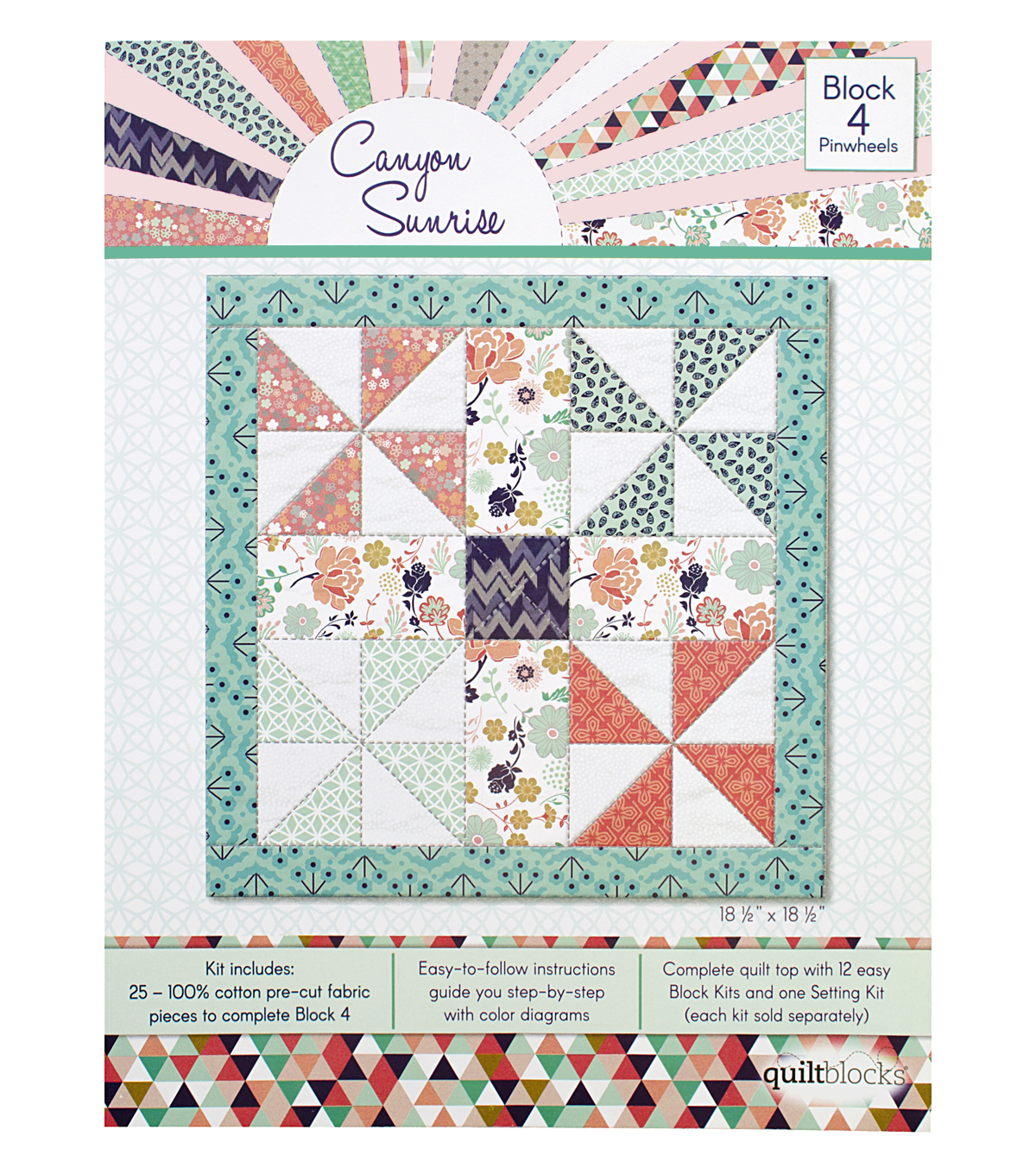 Quilt Block of the Month Cotton Fabric 18.5