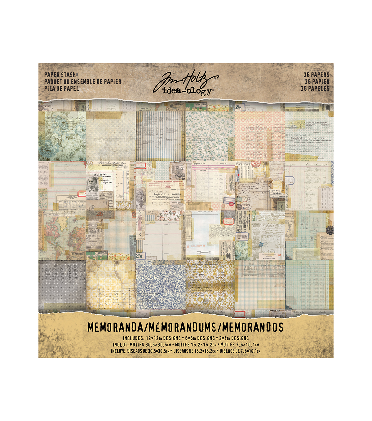 scrapbook paper paper craft supplies joann tim holtz® idea ology® pack of 36 memoranda paper stash